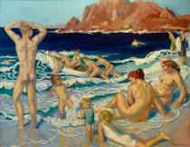 Maurice Denis - Beach with boat and nude man-Bathers in Perros-Guirec