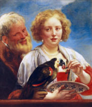 Jacob Jordaens - A young woman with an old mann and a parrot