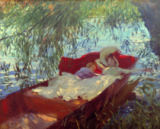 A Lady and a Little Boy Asleep in a Punt under the Willows von John Singer Sargent