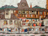 House with drying washing of Egon Schiele