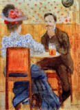 August Macke - Paar am Biertisch