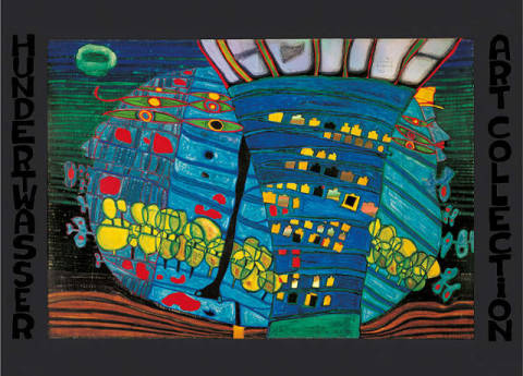 The blue Moon - Atlantis - Escape into Space of artist Friedensreich Hundertwasser as framed image