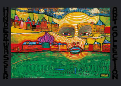 Irinaland over the Balkans of artist Friedensreich Hundertwasser as framed image