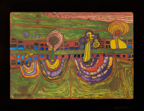 Downtownlane of artist Friedensreich Hundertwasser as framed image