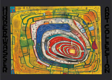 Island in the Yellow Sea - On the way one is never lost of artist Friedensreich Hundertwasser as framed image