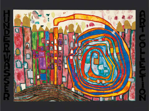Who has eaten all my Windows of artist Friedensreich Hundertwasser as framed image