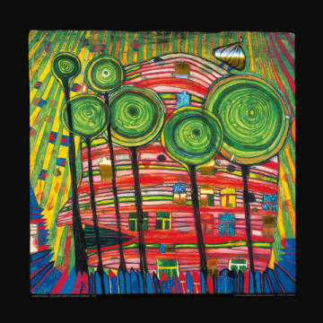 Blobs grow in beloved gardens of artist Friedensreich Hundertwasser as framed image