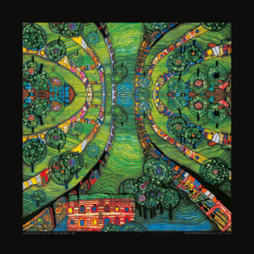 Green Town of artist Friedensreich Hundertwasser as framed image