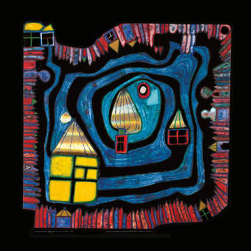 End of the Waters of artist Friedensreich Hundertwasser as framed image
