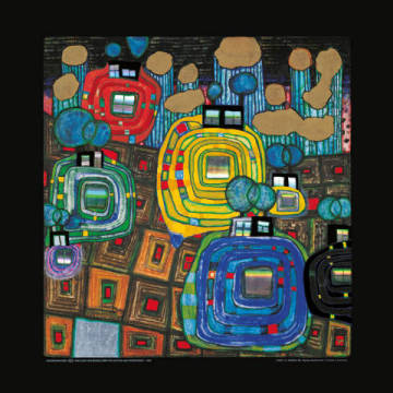 Pavillions and Bungalows for Natives of artist Friedensreich Hundertwasser as framed image