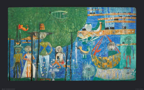 Paradise - Land of Men, Trees, Birds and Ships of artist Friedensreich Hundertwasser as framed image