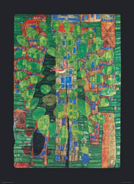 Singing Bird on a Tree in the City of artist Friedensreich Hundertwasser as framed image