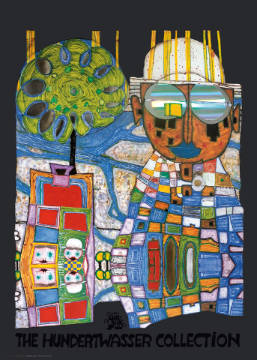 Tropical Chinese of artist Friedensreich Hundertwasser as framed image