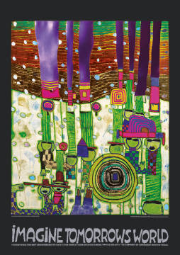 klassischer Kunstdruck: Friedensreich Hundertwasser, Imagine Tomorrows World (grüne Version) - nach 944 blue blues