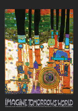 klassischer Kunstdruck: Friedensreich Hundertwasser, Imagine Tomorrows World (orange Version) - nach 944 blue blues