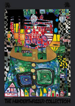Antipode King of artist Friedensreich Hundertwasser as framed image