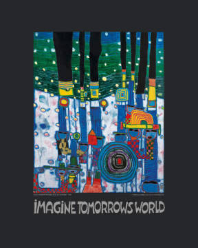 klassischer Kunstdruck: Friedensreich Hundertwasser, Imagine Tomorrows World - nach 944 blue blues