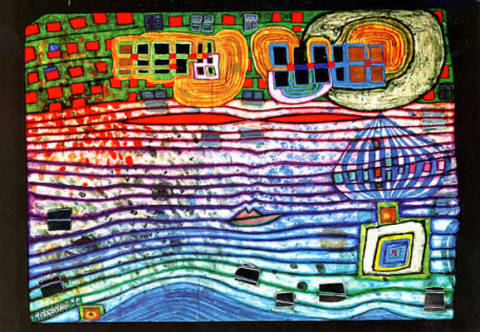 Wavelength of artist Friedensreich Hundertwasser as framed image