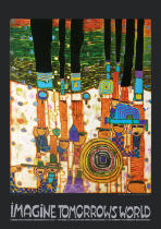 Friedensreich Hundertwasser - Imagine Tomorrows World (orange version) - 944 blue blues