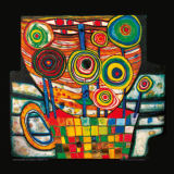 Friedensreich Hundertwasser - The Blob grows in  the Flower Pot