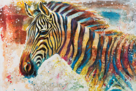 Colorful zebra I of artist New Life Collection as framed image