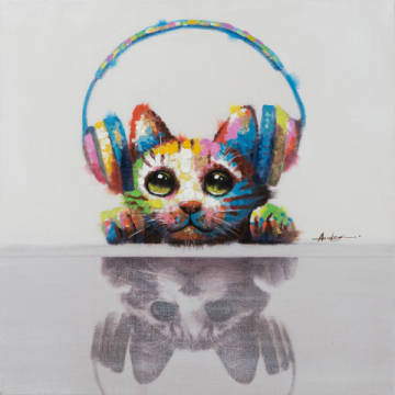 Cat listening to music I of artist New Life Collection as framed image