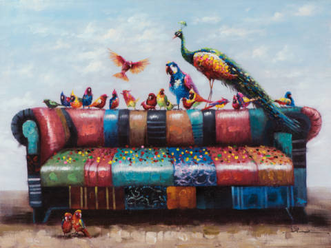 Birds on colorful sofa I of artist New Life Collection as framed image