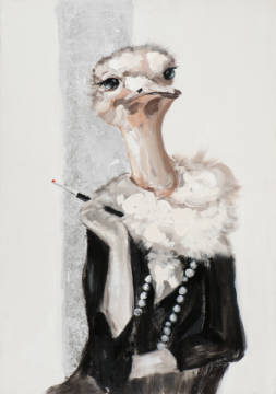Ostrich in costume I of artist New Life Collection as framed image