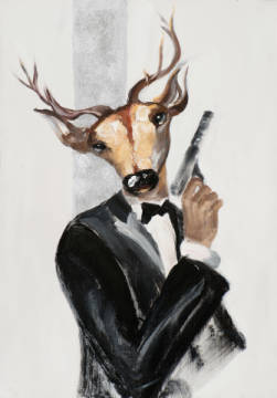 Deer in suit I of artist New Life Collection as framed image
