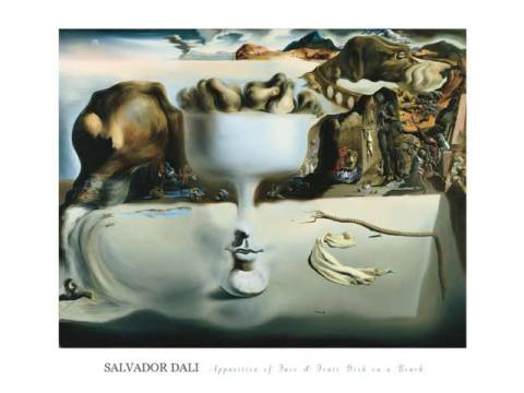 Apparition of Face and Fruit Dish on a Beach von Künstler Salvador Dalí als gerahmtes Bild