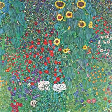 Farm Garden with Sunflowers, around 1905/1906 of artist Gustav Klimt as framed image