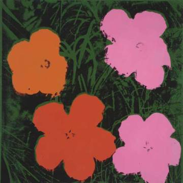 Flowers, 1964  (1 orange, 1 red, 2 pink) of artist Andy Warhol as framed image