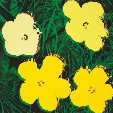 Flowers, 1970 (4 yellow) of artist Andy Warhol as framed image