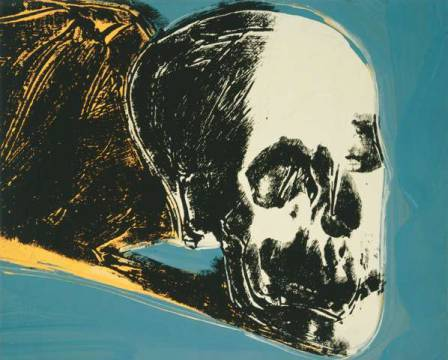 klassischer Kunstdruck: Andy Warhol, Skull, 1976 (yellow on teal)