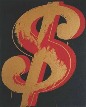 klassischer Kunstdruck: Andy Warhol, Dollar Sign, 1981 (red and orange)