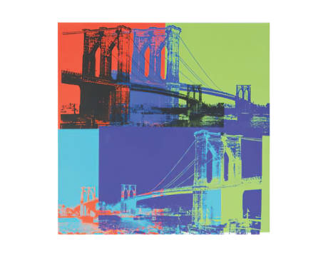 Brooklyn Bridge, 1983 (orange, blue, lime) von Künstler Andy Warhol als gerahmtes Bild
