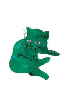 "klassischer Kunstdruck: Andy Warhol, Cat From ""25 Cats Named Sam and One Blue Pussy"" , c. 1956  (Green Cat)"