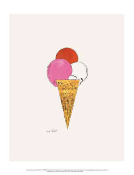 Art Print: Andy Warhol, Ice Cream Dessert, c. 1959 (red, pink, and white)