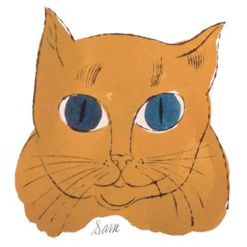 "Cat from ""25 Cats Named Sam and One Blue Pussy"",  c. 1954 (gold sam) von Künstler Andy Warhol als gerahmtes Bild"