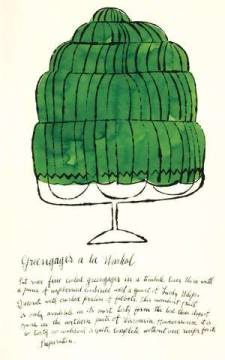 klassischer Kunstdruck: Andy Warhol, Wild Raspberries by Andy Warhol and Suzie Frankfurt, 1959  (green)