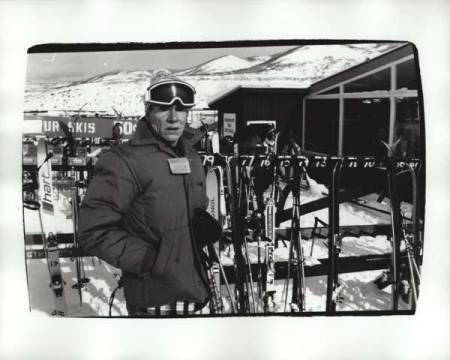 Andy Warhol, undated (skiing) of artist Andy Warhol as framed image