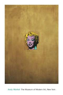 Gold Marilyn Monroe of artist Andy Warhol as framed image