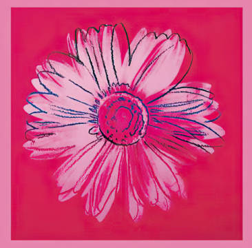 Daisy, c. 1982 (crimson and pink) of artist Andy Warhol as framed image