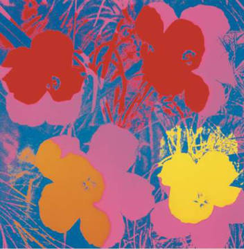 Flowers, 1970 (red, yellow, orange on blue) von Künstler Andy Warhol als gerahmtes Bild