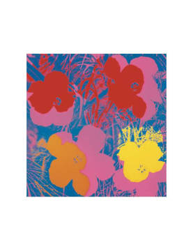 Art Print: Andy Warhol, Flowers, 1970 (red, yellow, orange on blue)