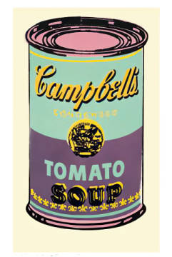 klassischer Kunstdruck: Andy Warhol, Campbell's Soup Can, 1965 (green & purple)