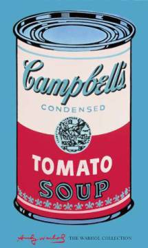Campbell's Soup Can, 1965 (pink & red) of artist Andy Warhol as framed image