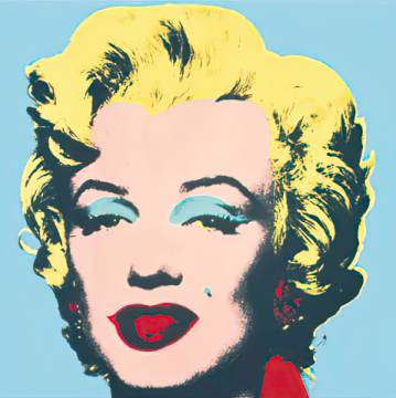 Marilyn, 1967 (on blue ground) of artist Andy Warhol as framed image