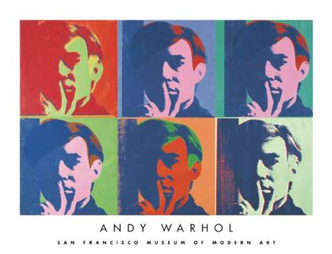 A Set of Six Self-Portraits, 1967 of artist Andy Warhol as framed image