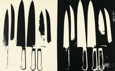 klassischer Kunstdruck: Andy Warhol, Knives, c. 1981-82  (cream and black)